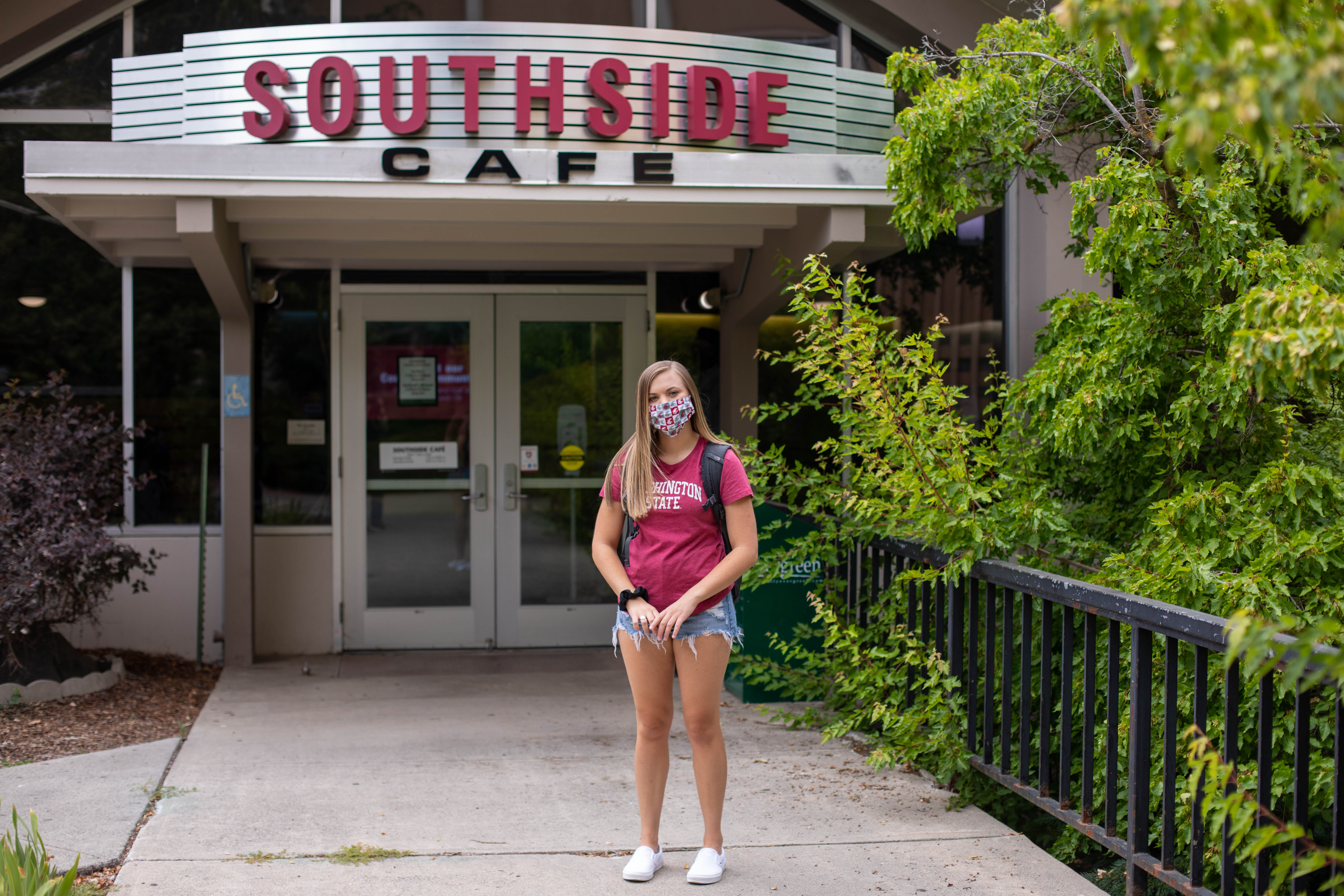 Girl standing in front of Southside Dining Hall